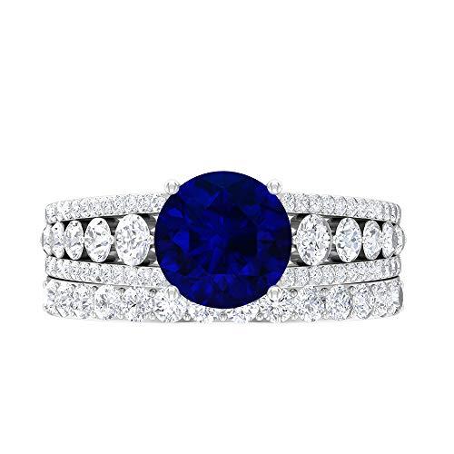 Conjunto de anillos de novia de zafiro azul, joyas de oro macizo, piedras preciosas redondas de 3,70 quilates, anillo de compromiso de solitario D-VSSI de 8 mm, 10K Oro blanco, Size:EU 62