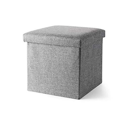 LFF Coffre de Rangement Pliant, Repose-Pieds Repose-Pieds Ottoman Siège de Pique-Nique Portable Polyvalent Cubes Gain d'espaceMax 120 kg Linenette 38 x 38 x 38 cm (Couleur : Gray)