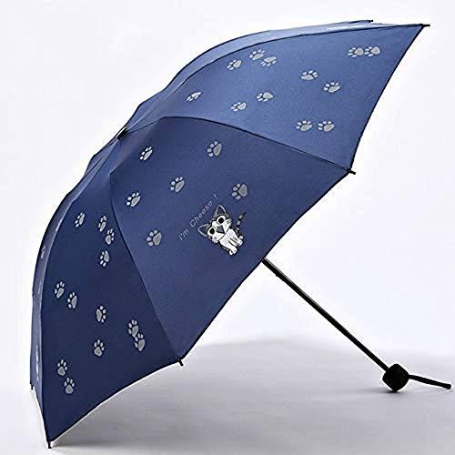QIERK Kreative Kinder Regenschirm Kinder Cartoon Regenschirm Sonnencreme Schwarze Pfote Katze Beschichtung 3 Mädchen Faltschirm Großhandel Kinder Regenschirm (Farbe: blau)