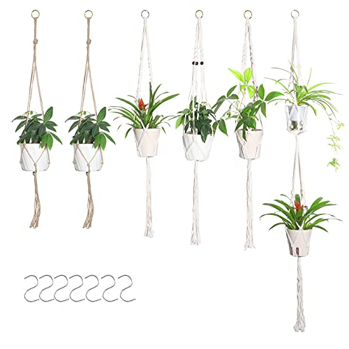 Viesap Macrame Colgante, 6PCS Colgador De Macramé para Plantas, Macrame Colgante Exterior y Interiore, Colgador para Plantas Soporte De Macetas con 7 Ganchos, Macramé Perchas De Plantas para Decor.