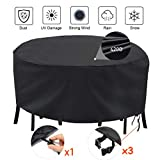 Oslimea Outdoor Patio Furniture Covers, Waterproof Outdoor Round Table Chair Set Covers, Outdoor Sectional Furniture Set Cover for Round Table Chairs Dining Set, Black (96' Diam x 27.5' H)