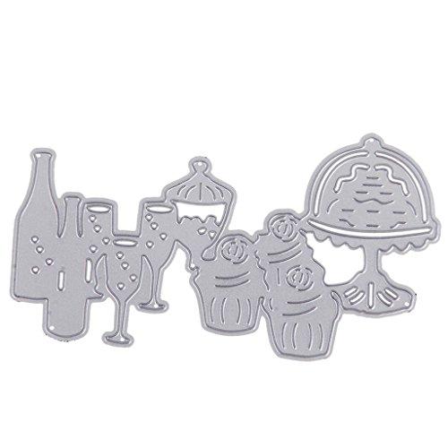 dailymall Prägeschablone Metall Stanzformen Scrapbook Hochzeit Weihnachtsdeko - Abendessen Weinglas
