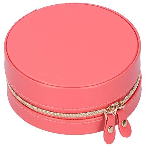 Buachois Joyero Portátil Redondo Rojo con Cremallera de Cuero de PU Dulce Pequeños Pendientes Frescos Collar Anillo Caja de Almacenamiento de Exhibición