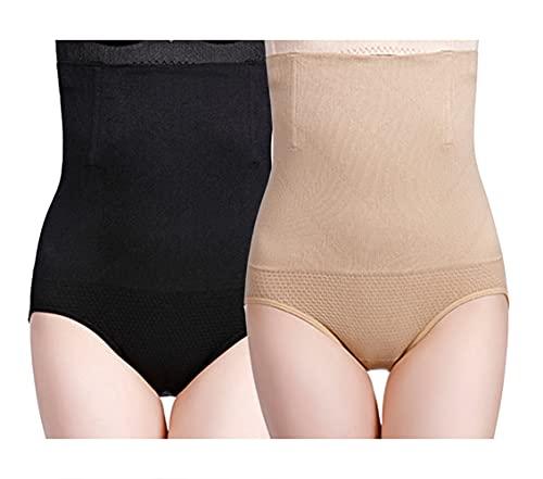 Yulincon Bragas de cintura alta para mujer, buena elasticidad, sección en C, reductor de adelgazamiento, 2 pares Black Nube XS-S