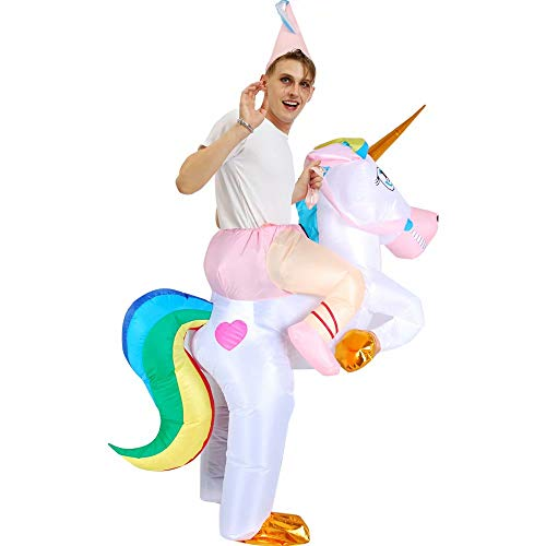RenKeAi Disfraz de Unicornio Inflable para Adultos para niños Disfraz de Halloween para Fiesta de Disfraces Disfraz de Cosplay de Unicornio Inflable con Sombrero (Niño 120-140 cm, Adulto 160-190 cm)