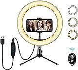 Anillo de luz LED de 10'con Soporte para trípode y Soporte para teléfono Flexible, luz de Selfie para Maquillaje de Escritorio con 3 Modos de luz y 10 Niveles de Brillo para fotografía de Youtube
