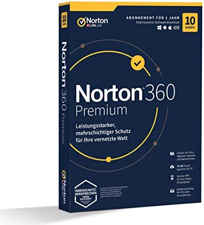 SYMANTEC NortonLifeLock Norton 360 Premium 75GB GE 1 User 10 Device 12MO Generic MM 1 année(s) - NortonLifeLock Norton 360 Premium 75GB GE 1 User 10 Device 12MO Generic MM, 1 année(s)