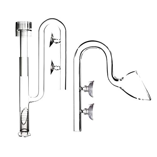 FZONE Aquatic Glass Lily Pipe Set with Lily Skimmer Inflow and Lily Outflow for Aquarium Filter 5/8''(16/22mm) Tubing