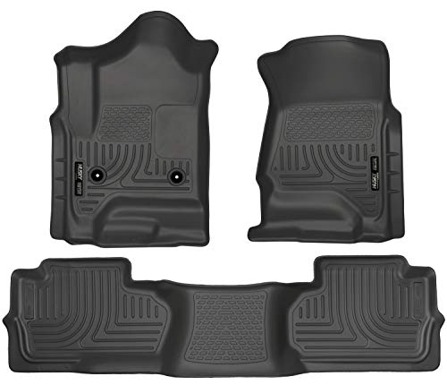 Husky Liners 98241 Black Weatherbeater Front & 2nd Seat Floor Mats (Footwell Coverage) Fits 2014-18, 2019 Chevrolet LD/GMC 1500, 2015-19 Silverado/Sierra 2500/3500 Double Cab