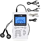 BTECH MPR-AF1 AM FM Personal Radio with Two Types of Stereo Headphones, Clock, Great Reception and Long Battery Life, Mini Pocket Walkman Radio with Headphones (White)