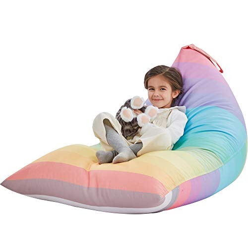 Nobildonna Stuffed Animal Storage Bean Bag Chair Cover Only for Kids and Adults, Extra Large Beanbag Without Filling Plush Toys Holder and Organizer- Premium Canvas 250L (Rainbow)