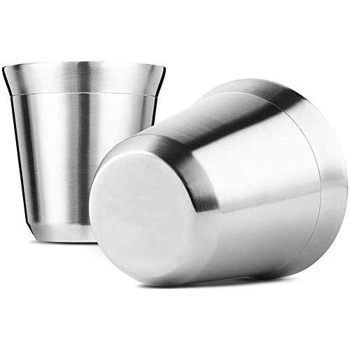 NanXi Edelstahl Espressotassen 2 Pack, Doppelwandige isolierte Kaffeetassen Teetassen, leicht zu reinigen und spülmaschinenfest,80ml