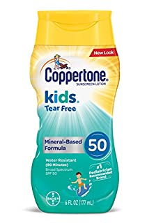 Coppertone Kids Sunscreen Tear Free Mineral Based Water Resistant Lotion Broad Spectrum SPF 50, 6 Fl Oz (B01MUF7PBM) | Amazon price tracker / tracking, Amazon price history charts, Amazon price watches, Amazon price drop alerts