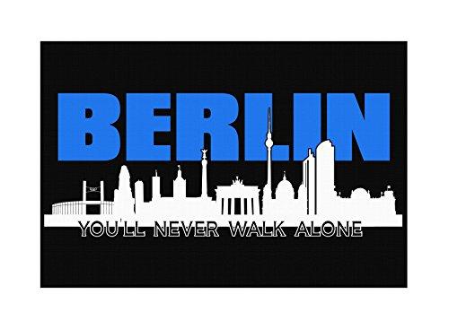 Uglyshirt89 Berlin Skyline Premium Leinwand | Keilrahmen Bild Gemälde Wandbild (60 x 40 cm)