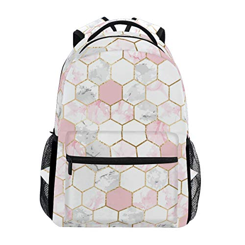ALAZA White Marble Rose Gold Lattice Geometric Large Backpack Personalized Laptop iPad Tablet Travel School Bag with Multiple Pockets