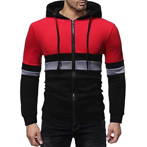FORUU Mens Hooded Sweatshirts Zip Up,2020 New Autum Winter Hoodie for Men Handsome Fashion Stylish Trendy Warm Long Sleeve Patchwork Outwear Top Pullover Coat Sweater Sport Party Evening