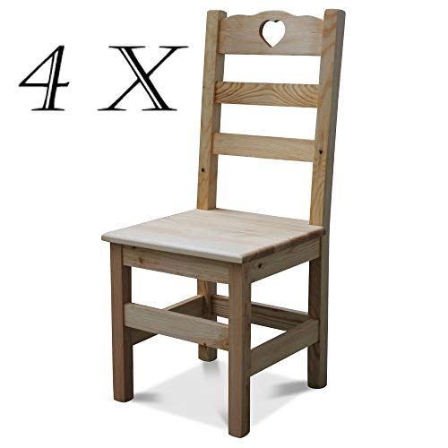 Elean 4 Set Holzstuhl Herz mit Lehne aus massiven Kiefernholz geölt zussamengebaut Neu