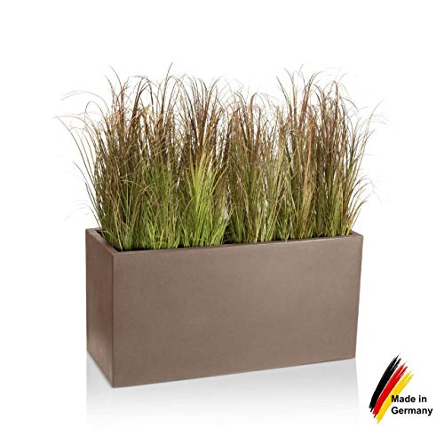 Pflanzkübel DECORAS Kunststoff-Pflanztrog VISIO 50 – cappuccino matt – frostsicher & UV-beständig (8 Jahre Garantie) – geeignet für Innen- & Außenbereiche – Premium Blumenkübel