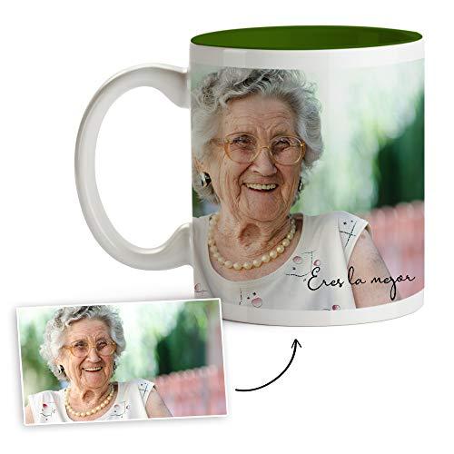 Fotoprix Tazas Personalizadas con Foto y Texto | Regalos Personalizados con Foto para Abuela | Taza Personalizada con Nombre | Taza de Color Verde Oscuro
