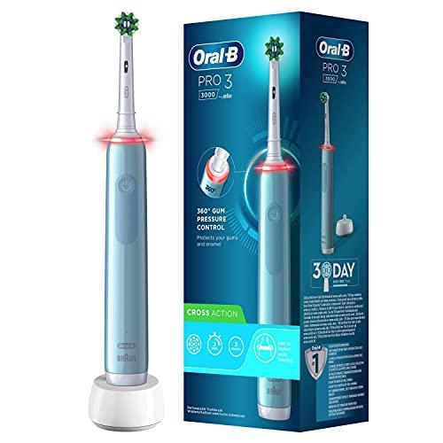 Oral-B PRO 3000 Brosse à Dents Électrique Rechargeable avec 1 Manche Capteur de Pression et 1 Brossette CrossAction, Bleu, Technologie 3D, Élimine jusqu'à 100 % de plaque dentaire