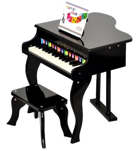ts-ideen Kinder Flügel Klavier ab 3 Jahre mit Hocker Schwarz mit 30 Tasten Kids Piano mit Farbtafel und Liederheft