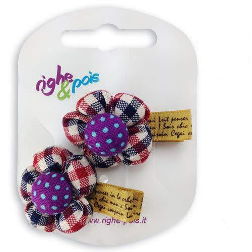 80 – 609 – Lot 2 Becs pour cheveux fille cm 4 avec fleur tissu Pois – Pinces pour Cheveux aubergine