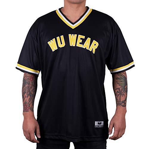 Wu Wear T-Shirt Wu Baseball Jersey, Wu Tang Clan Urban Streetwear Fashion, Hip Hop, Herren Shirt, schwarz Größe M, Farbe Black