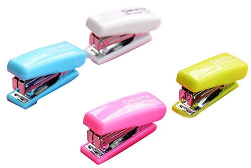 Conjunto De 1 creativo mini portátil de escritorio de oficina de la grapadora grapadora de color al azar B