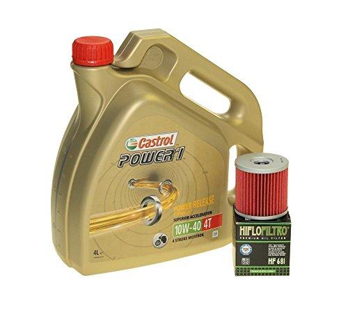 Cambio de aceite Set 4litros Castrol SAE 10W de 40Power 14t Incluye Filtro de aceite HiFlo hf681como en Hyosung GT 650, GV 650, ST 7, GV 700