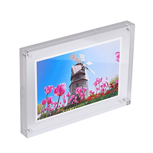 HDE Acrylic Photo Frame 4x6 Magnetic Double Sided Clear Photo Frame 15mm Thickness Free Standing Desktop Picture Display