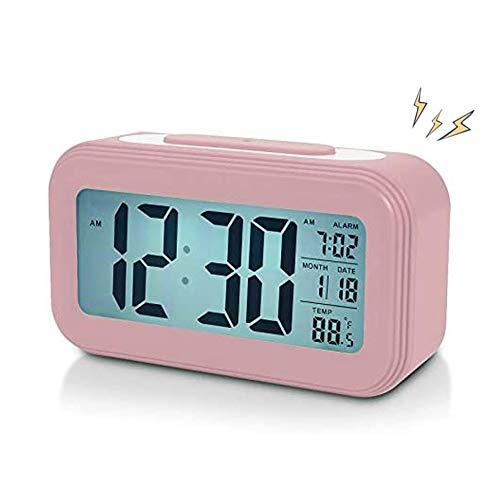 AISOO Despertadores Digitales, Reloj Despertador LCD Digital, Multi-Funciones Alarma Inteligente Muestra Hora, Temperatura, Fecha Silencioso para Viejos Niños en Casa Oficina (Rosa)