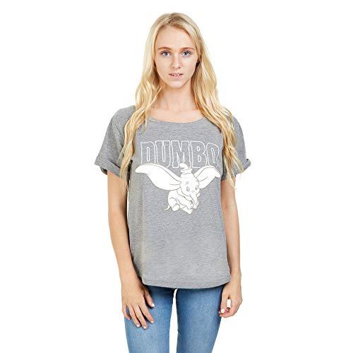 Disney Dumbo Flying T-Shirt Camiseta, Gris (Gris Grafito), M para Mujer