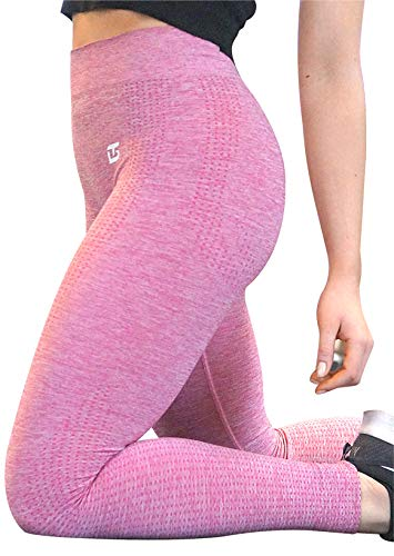 GYMTEX Sport Leggings Damen Seamless I Deutsche Marke I Nahtlos, Blickdicht und High Waist für Yoga und Fitness I Sportleggins Damen in Grau, Rosa Meliert GT1901 (M, Pink)