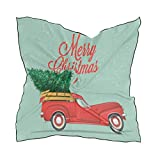 Ahomy Pañuelo cuadrado con diseño de árbol de Navidad con camioneta retro para mujer, 60 cm x 60 cm