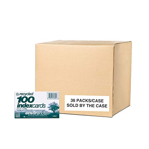 """Roaring Spring Paper Products Case of 36 Packs of Recycled Index Cards, 3""""x5"""", 100 sheets of White Recycled 100# Index Per Pack, Ruled one side (74824cs1)"""