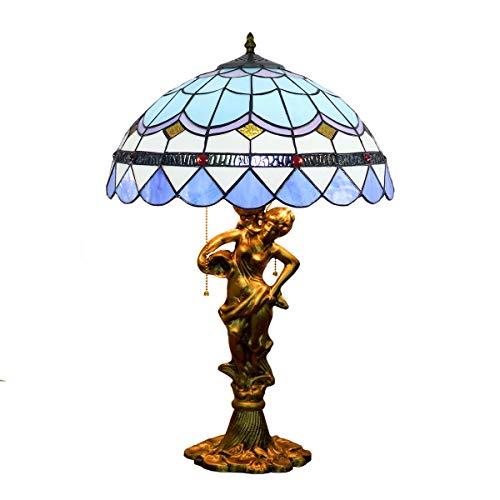Blivuself 16 pulgadas del vitral de Tiffany azul europea lámpara de mesa mediterránea creativa del vitral de la sala de estar comedor Dormitorio lámpara de escritorio de la cabecera de la belleza de l
