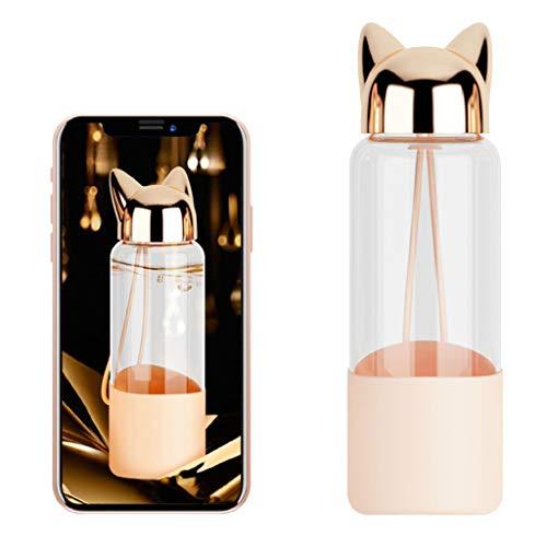 DOLDOA Haushalt Wohnen,Süße Fox Glas Wasserflasche BPA frei 320ml transparente Flasche für Fahrradtour (Gold)