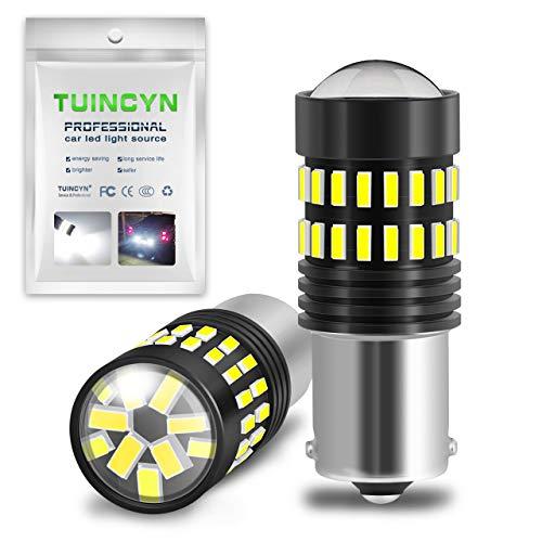 TUINCYN 1156 Ampoules LED ultra lumineuses pour feux stop, feux de recul, clignotants 1141 1095 7506 1156 1156A 1156NA 4014-48SMD 6500K Blanc froid 12 V-24 V DC 1200 lumens (Lot de 2)