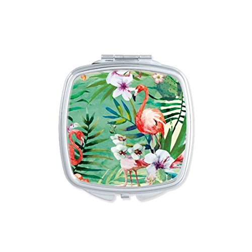 Tropical Plants Flamingo Animal Square Mirror Portable Compact Pocket Makeup Double Sided Glass