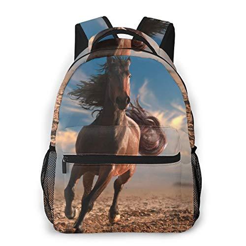 Hardlopen Paard met Gestroomlijnde Mane Rugzakken voor Kids School Tassen Student Book Bag Peuter Rugzak Reizen Rugzak Wandelen Camping Daypack voor Jongens Meisjes Tiener