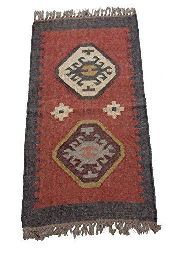 Alfombra india de 2 x 3 pies, reversible Dhurrie Turco Kilim Alfombra de meditación Alfombra de yute para interiores y exteriores, alfombra rústica Kelim