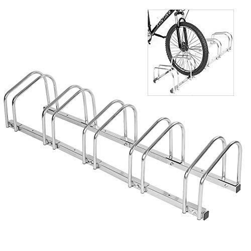 AYNEFY Parcheggio per Biciclette, Rastrelliera Portabici per Posteggio da Bicicletta da Pavimento in Acciaio (5 Rack)