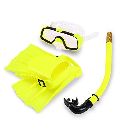 Yosoo kinderen zwemmen duiken set duiken siliconen zwemvliezen + snorkel Scuba brillen duikbril masker snorkel siliconen set voor 3-6 jaar kind EU-maat: 25-30