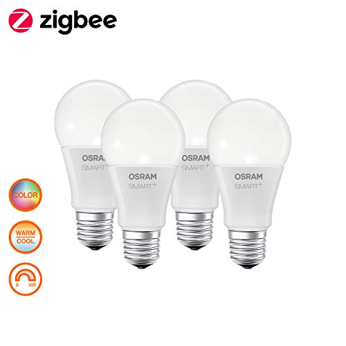 OSRAM Smart+ LED, ZigBee lamp met E27-fitting, warmwit tot daglicht, kleurverandering RGB, dimbaar, direct compatibel met Echo Plus en Echo Show (2e gen. Compatibel met Philips Hue Bridge, 4-delige verpakking.
