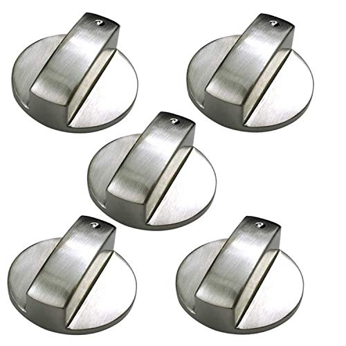 Universal 6MM Gas Adaptadores,Perillas de Control Universales, 5 Piezas Rotatorio Perillas para Cocinas,Cocina de Gas,Horno Estufa,Estufa,Metal de Control de Reemplazo Accesorios,Silver