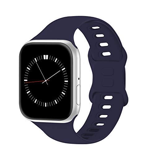 IYOU Correa deportiva compatible con reloj de 42 mm y 44 mm S/M, correa de silicona suave para reloj SE, serie 6/5/4/3/2/1 (azul medianoche)
