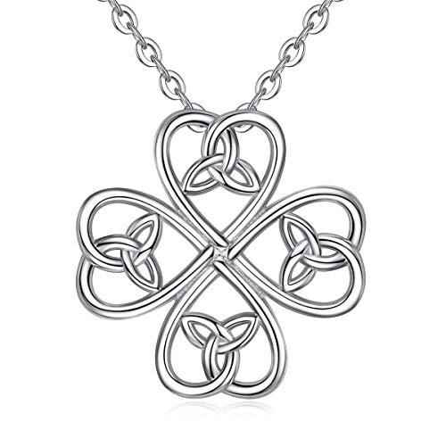 INFUSEU Four Leaf Clover Pendant Necklace Celtic Shamrock Jewelry Sterling Silver for Women Girls Irish Trinity Eternity Love Knot Good Luck Neckless for Ladies