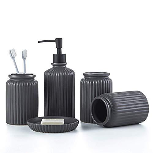WMYATING Kleine Badezimmerkeramik-Kits, Exquisite Handwerks Badezimmerzubehör Set Badezimmer Supplies 5-teiliges Bad Set European-Style Simple Ceramic Wash Set Haushaltsgegenstände Zahnbürstenhalter