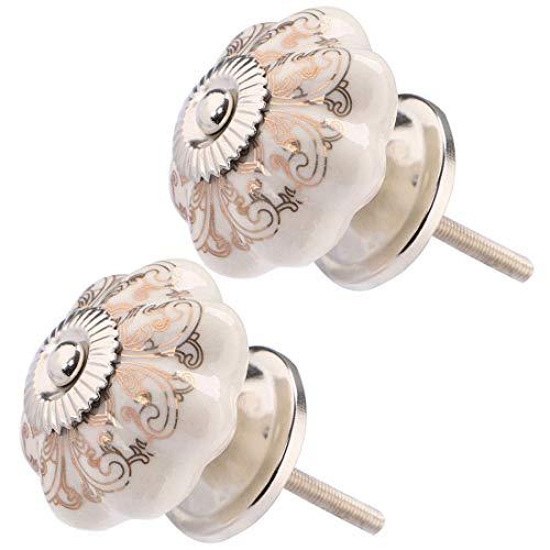 YeVhear - 2 pomelli in ceramica da 42 mm, stile vintage, per cassetti e cassetti, per bricolage, mobili, armadi, armadi, cassettiere, porta accessori di ricambio, colore: bianco + marrone