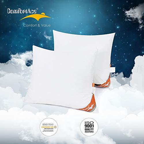 ComfortAce® 2er Set Kissen Kopfkissen 60x70 Bauwolle Bezug antiallergisch für Allergiker Kissen Anti Milben gefüllt mit Hohlfaser aus 100% Polyester Waschbar Weiß Balla Serie MEHRWEG